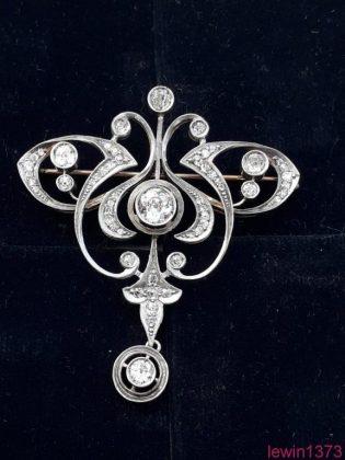 Брошь старинная царизм - золото 56 пр. , бриллианты.